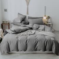 New gray blue 100%cotton Duvet Cover Fitted sheet Bed sheet Set 4pcs Queen/King Twin Size Bedding Sets Bedclothes parure de lit