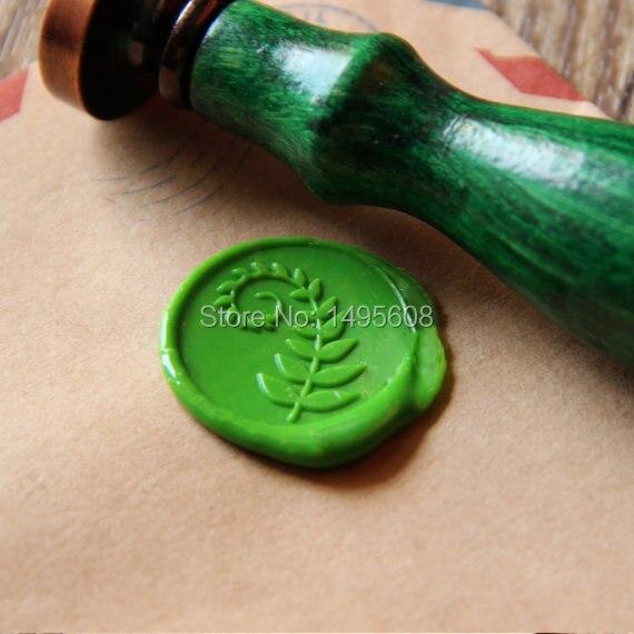 Fern leaf Wax Seal Stamp/ green leaf Sealing Wax Seal/wedding Wax Stamp WS085