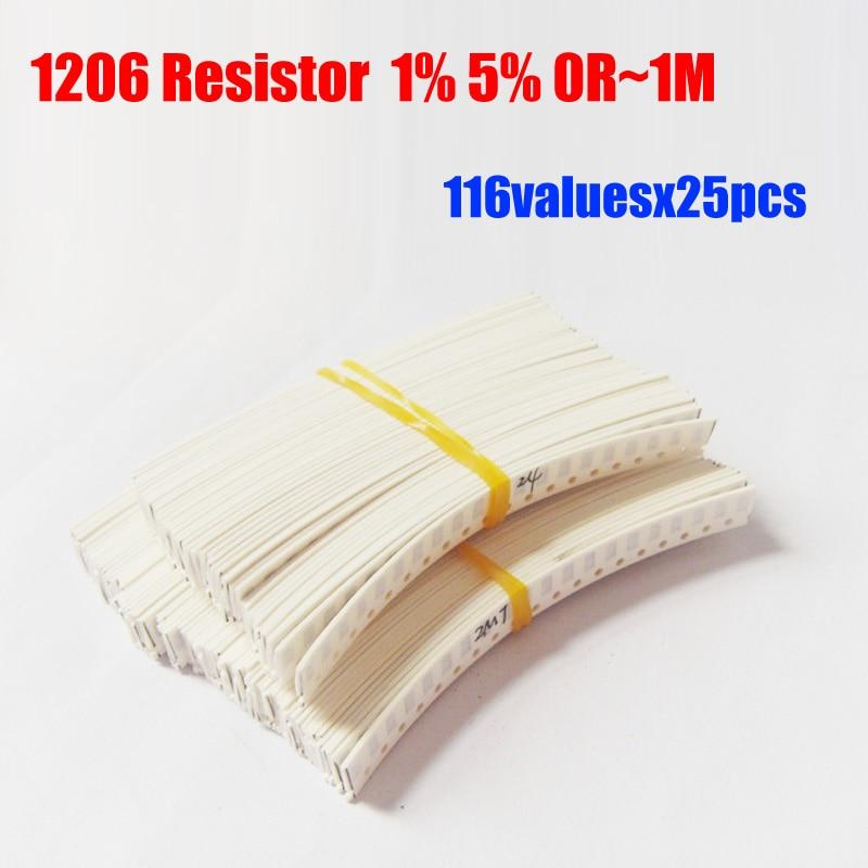 1206 resistencia SMD 1% 5% tolerancia 116valuesx25 Uds = 2900 Uds Kit de resistencias 0R ~ 1M Kit surtido