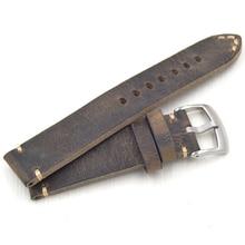 2020 fait à la main 18 19 20 21 22 mm haute qualité nouveau design hommes bracelet de montre bracelet + Vintage en cuir véritable bracelet de montre Correas de reloj