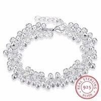 lekani womens fine jewelry 925 sterling silver 19cm chains sand light beads grape charms bracelet bangle pulseiras de prata