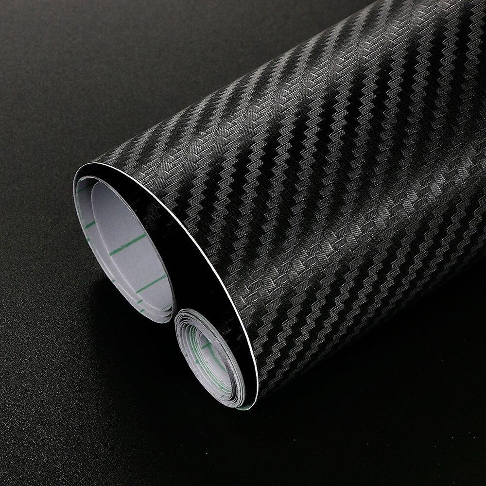 40cm x 200cm 3D fibra de carbono vinilo película pegatinas coche impermeable revestimiento decorativo de coche DIY para Auto vehículo motocicleta Auto Accesorios