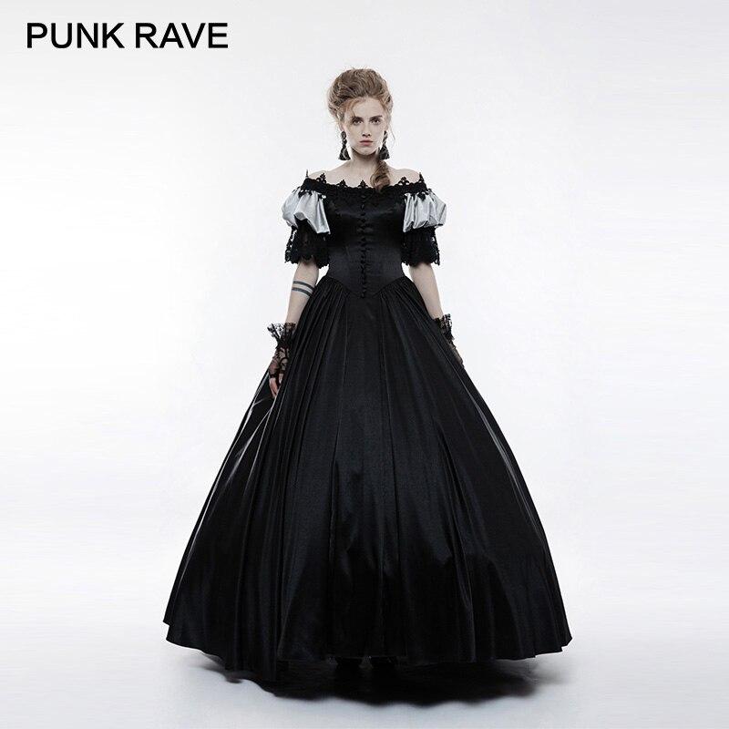 PUNK RAVE gótico victoriano Vintage Palacio vestido largo Retro de manga de burbuja negro Slim Cuff encaje flores mujeres ropa Club fiesta