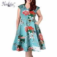 Nemidor 2019 offres spéciales femmes décontracté imprimer manches courtes élégant fête a-ligne robe col en v grande taille 7XL 8XL 9XL rétro balançoire robe
