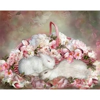 hot sale rabbit flower diamond mosaic kits for embroidery needlework cross stitch embroidery a5506r square diamond embroidery