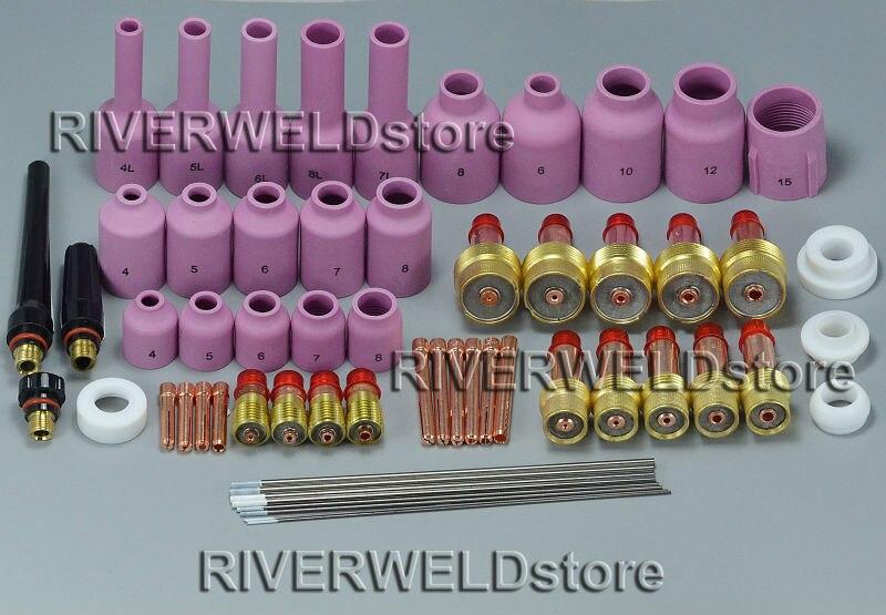 TIG Schweißen Gas Objektiv KIT & TIG Stubby Gas Objektiv Spannzangen Alumina Düsen Kit Fit Für SR WP 17 18 26 Wig-schweißbrenner