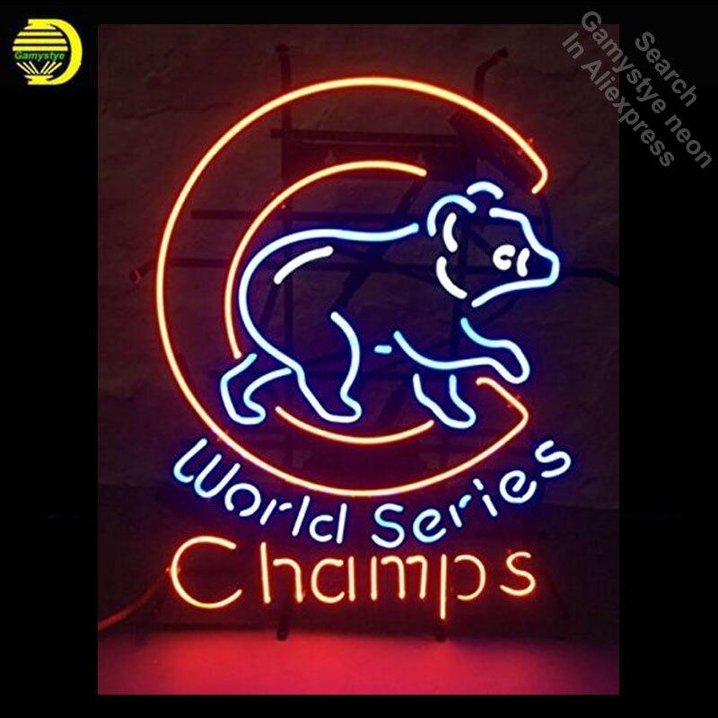 Muestra de neón de la Serie Mundial de los cachorros del oso, muestra hecha a mano de las bombillas de neón Rojas, tubo de cristal, icónico decorar los signos de pared personalizado