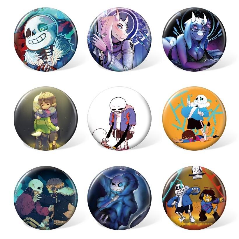 Mochila y accesorios de juego de Anime Undertale Badge broche de dibujos animados accesorios de Cosplay para regalo (9 unids/set)