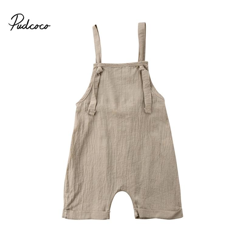 Summer Toddler Kids Boy Girls Bib Romper Summer Linen Sleeveless Kids Girls Strap Suspender Overalls