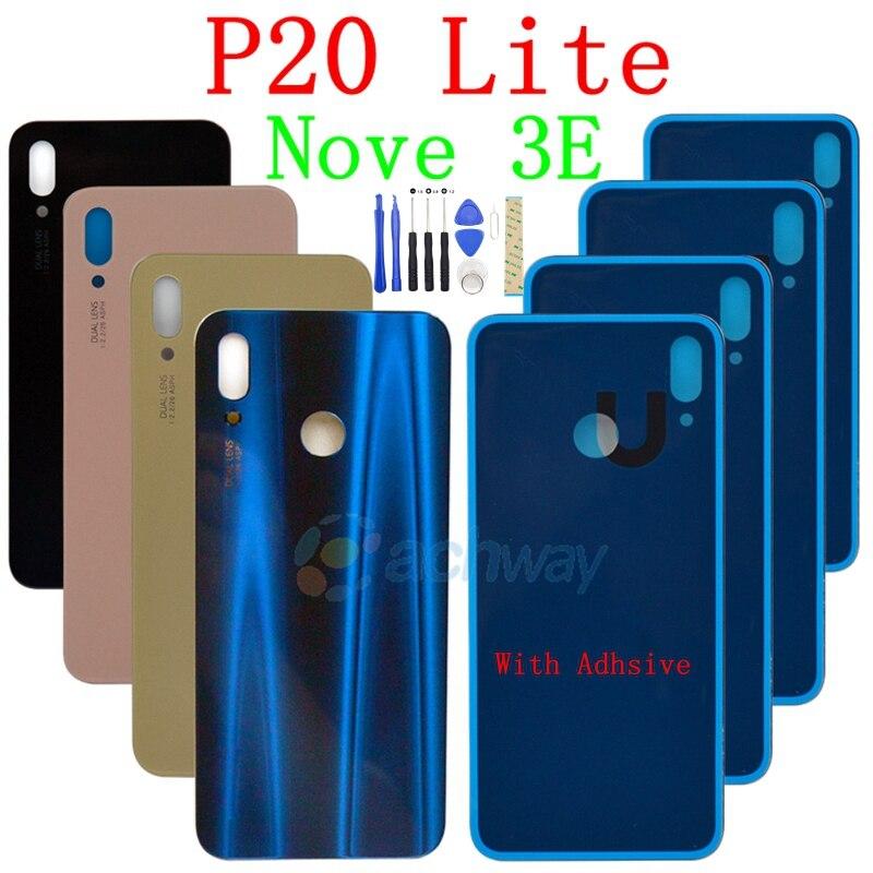Huawei P20 Lite крышка батареи Задняя стеклянная панель Задняя Дверь Корпус чехол с кнопкой отпечатков пальцев для Huawei P20 Lite батарея