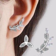 Hohe-qualität Beliebte Temperament Mode 925 Sterling Silber Überzogene Kristall Blume Blätter Asymmetrische Stud Ohrringe SE438