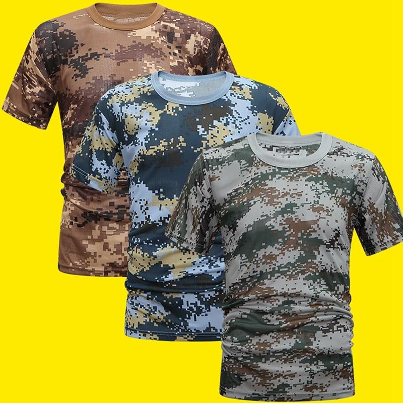 Camisa de compressão masculina confortável camisa legal camuflagem de fitness verão secagem rápida respirável camiseta apertado do exército tático
