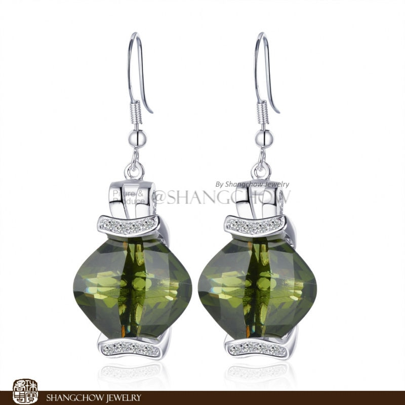 New! Stunning Fashion Jewelry Peridot 925 Sterling Silver Earrings E0330