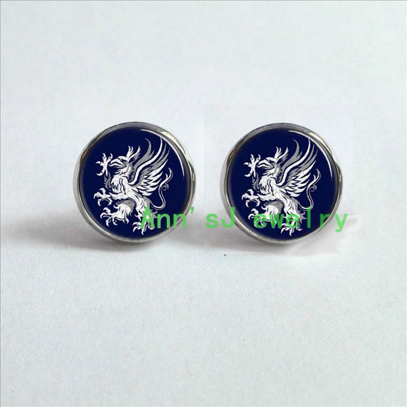 HZ4-0081 1 par dragão orelha prego idade cinza orelha do parafuso prisioneiro guardas, símbolo, logotipo, crista jóias brincos de vidro cabochon