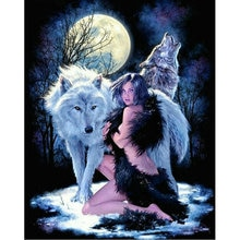 DIY Diamant Schilderij Kruissteek Handwerken Vierkante Mozaïek Diamant Borduurwerk meisje met wolf moon pictogram strass mozaïek Patroon