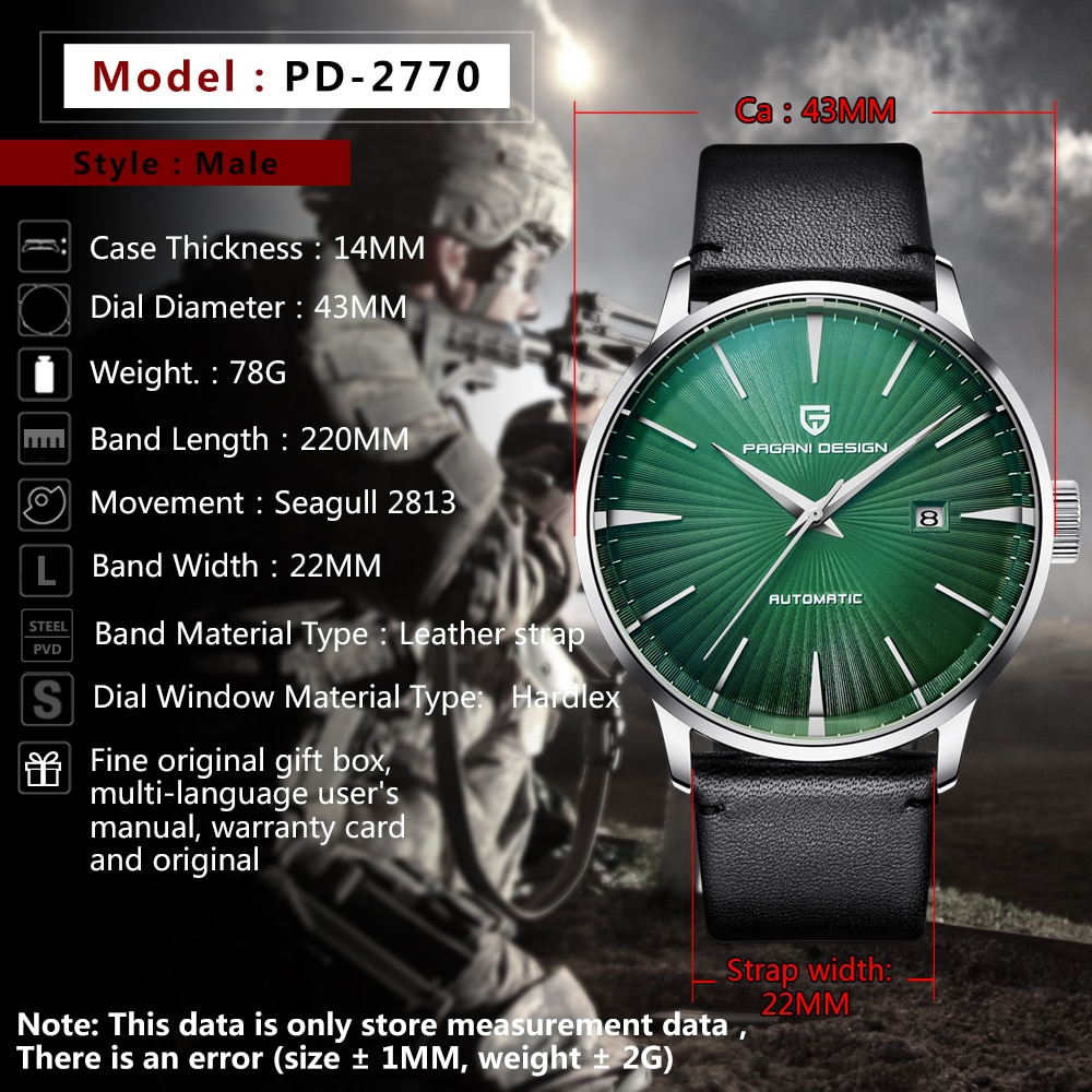 PAGANI DESIGN Luxury Brand New Fashion Mens Watches Waterproof Leather Strap Casual Automatic Mechanical Watch Relogio Masculino enlarge