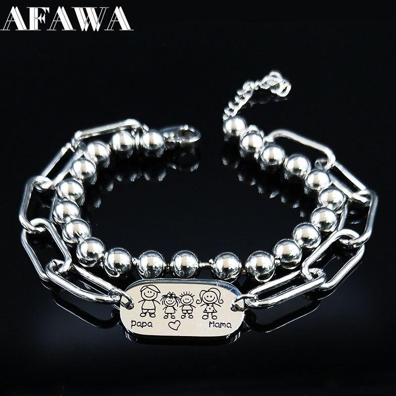 2020 de moda mamá y papá de acero inoxidable pulseras mujeres Color plateado, doble capa pulseras de la joyería de la pulsera joyas B1744S01