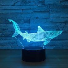 Lampe de Table fête avec la décoration du poisson, outils de pêche en 3D du requin, 7 couleurs, lumière changeante de la nuit, décoration du chevet