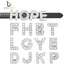 130 pièces 8mm plein strass Alphabet anglais A-Z bricolage glisser lettres. Glisser lettre breloque idéal pour Bracelet/Bracelet LSSL01 * 130