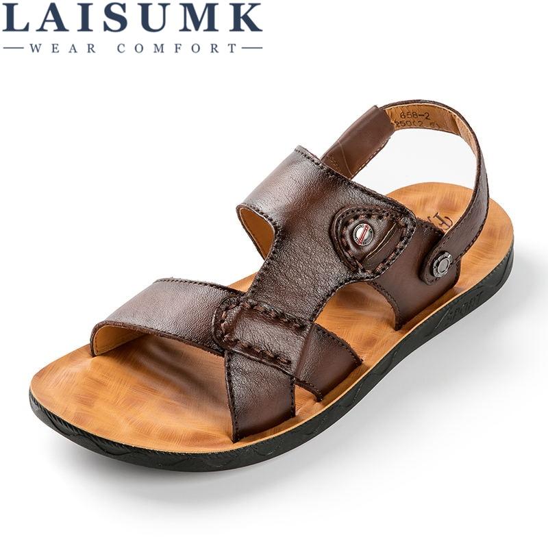 summer men sandals breathable beach shoes hook 2020 LAISUMK Men Genuine Leather Sandals Fashion Breathable Male Leather Sandal Summer Men Beach Shoes Beach Sandals Slippers