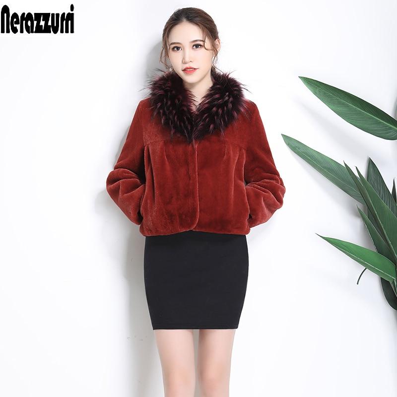 Nerazzurri Short faux fur coat women 2019 winter With Fox Fur Collar cropped top long sleeve plus size fake fur jacket 5xl 6xl