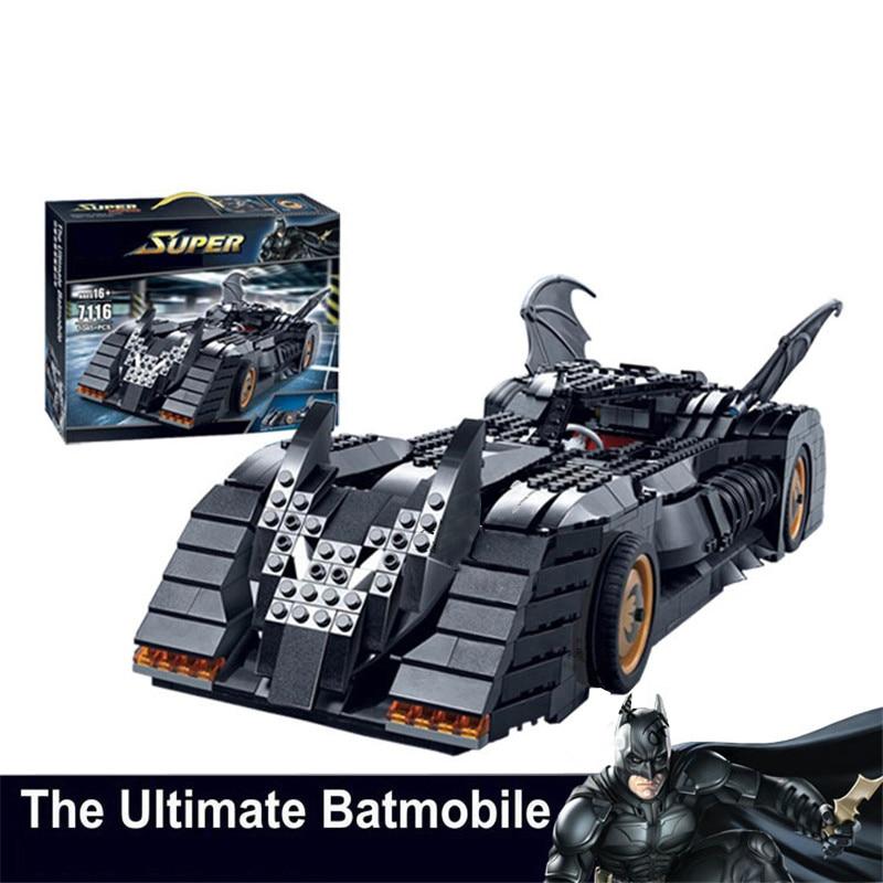 Nuevo 7116 superhéroes Batmen el último Batmobile bloques de construcción ladrillos juego de juguetes para niños Compatible con 7784 bloques