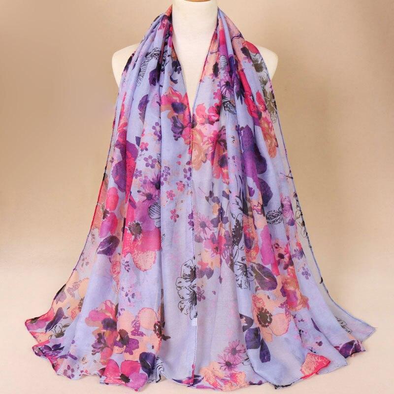 Bufanda Pashmina larga de Invierno para mujer, pañuelos de flores impresos, pañuelo de flores, diadema, Fular, Hijab, bufandas
