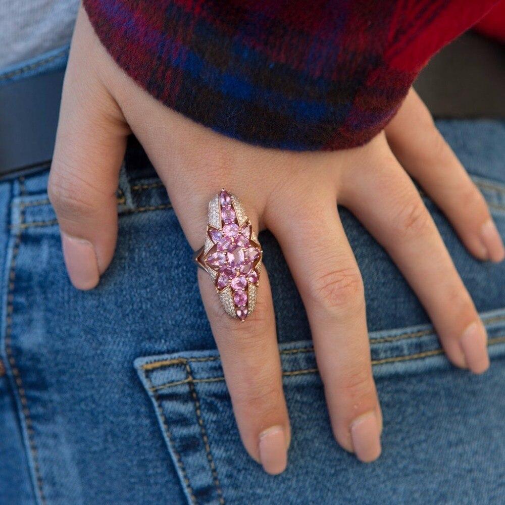 Anillos de dedo clásicos para mujeres con Rosa cz pavimentado filigrana anillo de joyería en oro enchapado en plata mujeres señora nuevo anillo para la boda