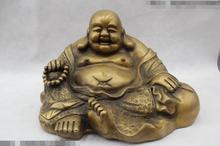 """شحن مجاني S03126 9 """"الصين الشعبية الصرفة البرونز لاكي الحوامل الجلوس مايتريا تمثال بوذا"""