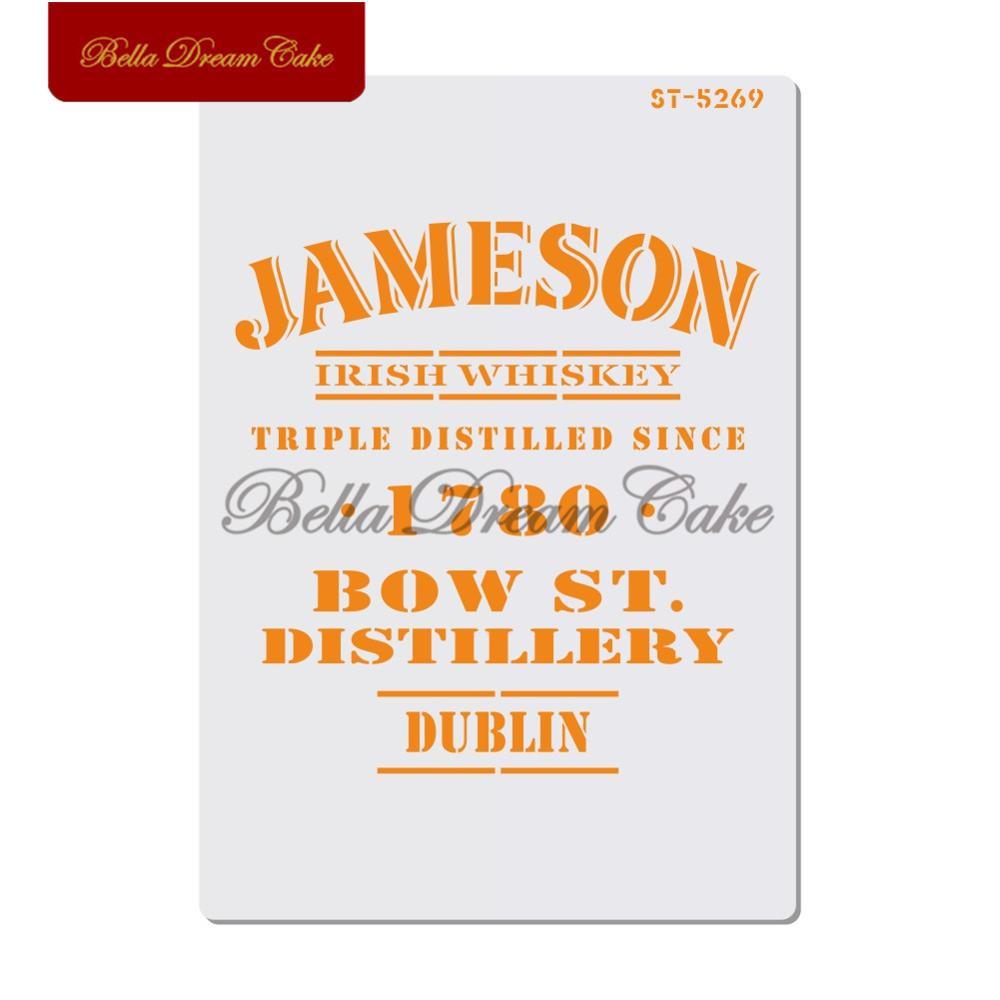 Plantilla de plástico para pastel de Whisky irlandés, nombre de vino, pintura en capas, plantillas para DIY, arte de colección de recortes, plantilla de dibujo, herramienta