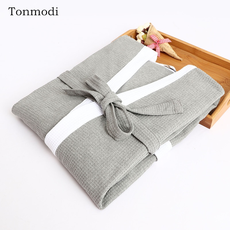 Robe For Men Spring And Summer Long Sleepwear Robe Long-sleeve Cotton thin Nightgown Men Plus Size
