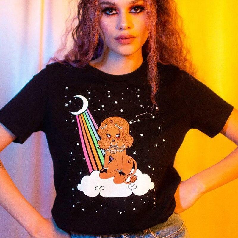 2019 New Women Constellation Leo Virgo Summer Loose Tee Short Sleeve T-shirt Ladies Summer Casual O-neck Tops T-Shirt Clothes