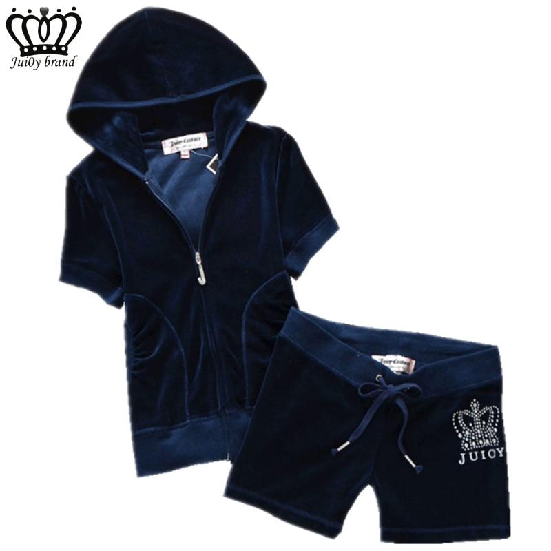 Summer Womens Brand Tracksuit Velvet Fabric Sportswear Hoodies Tops and Short Pants Set S-XL