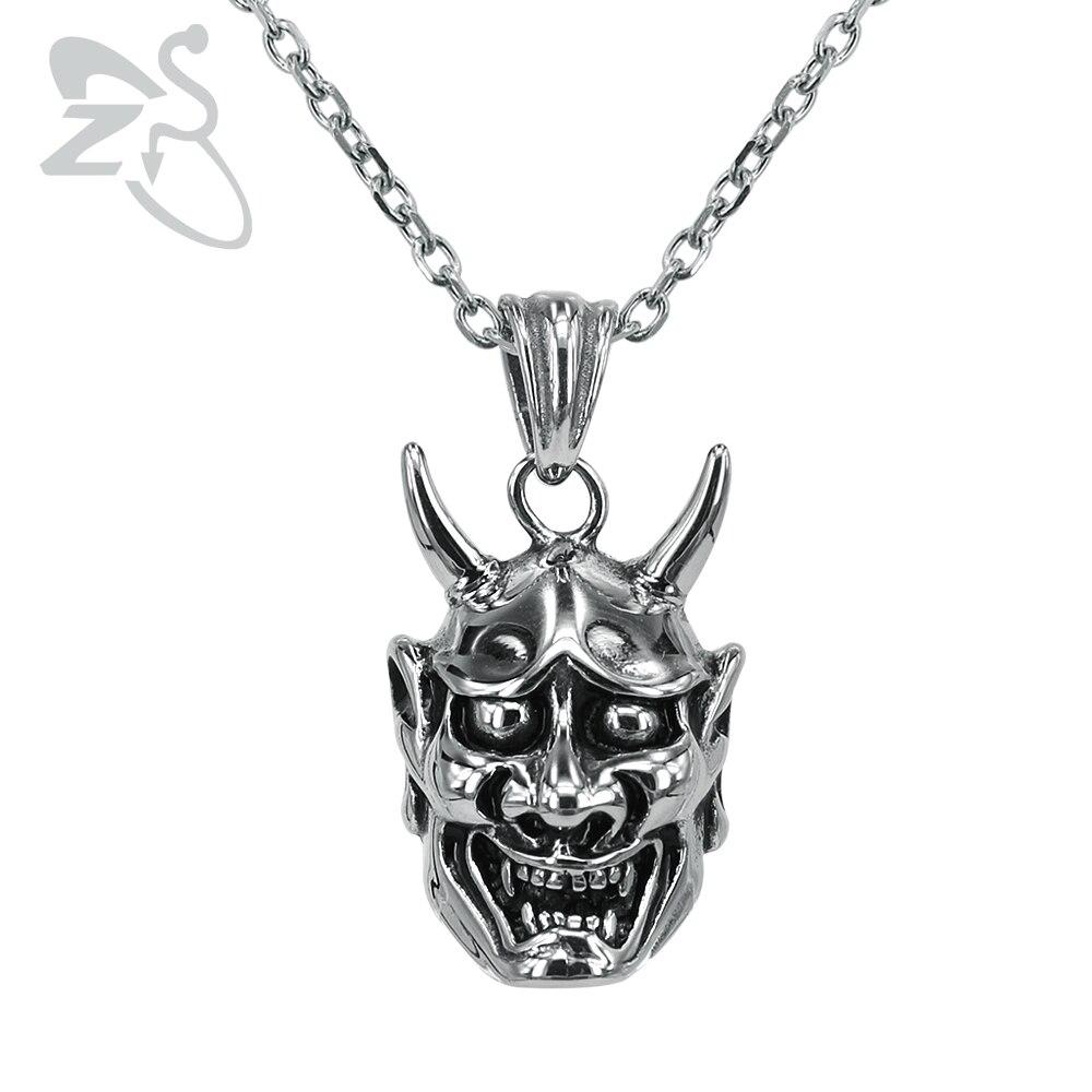 ZS Japanese Devil Pendant Necklace Stainless Steel Necklaces Hip Hop Punk Biker Necklace Pendant for Man Gothic Punk Jewelry
