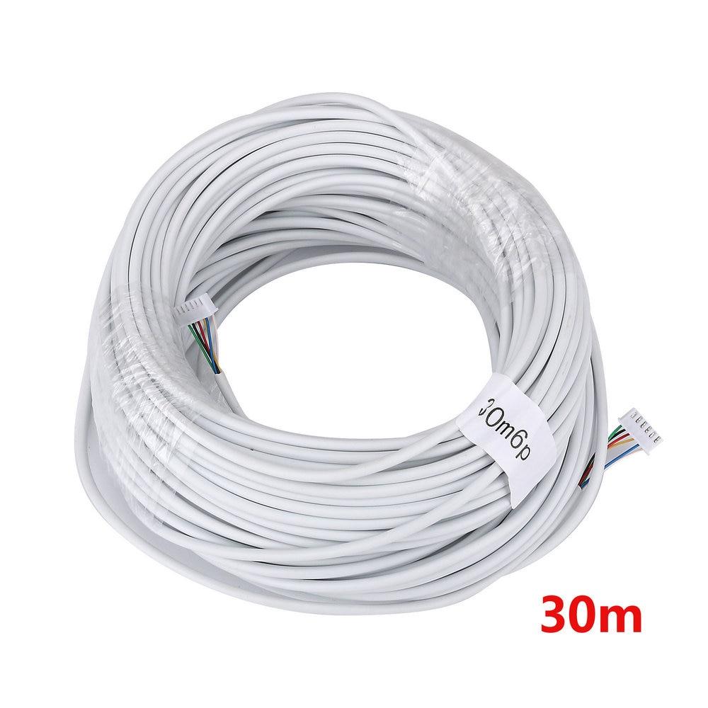 30 м 2,54*6 P 6 проводной кабель для видеодомофона, цветной видеодомофон, проводной дверной звонок кабель для домофона