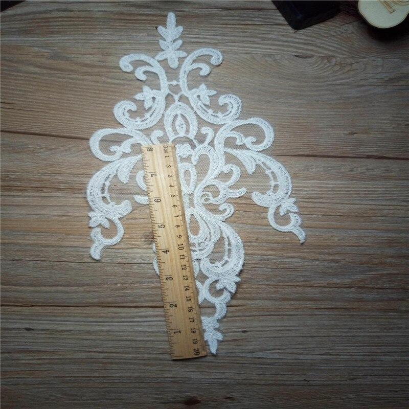 2 uds de largo 35x15 CM diadema de boda accesorios para el cabello Venise encaje hermoso marfil flor Floral motivo apliques BD0118