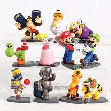 Figurine Mario Luigi pêche crapaud Yoshi Bowser Wario âne Kong chenille Spiny Mini jouets 11 pièces/ensemble