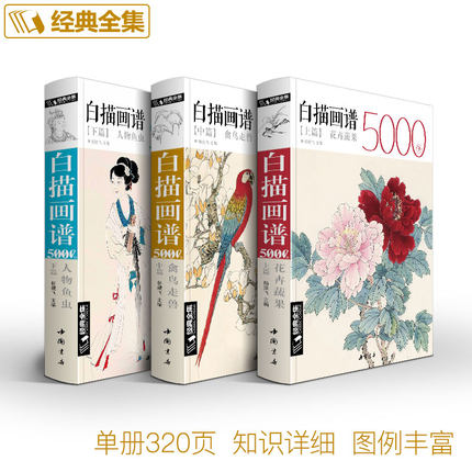 Libro de dibujo de línea china Bai Miao funda de dibujo blanco 5000 para peces animales insectos pájaros. Flores hechas con frutas libro para pintar art
