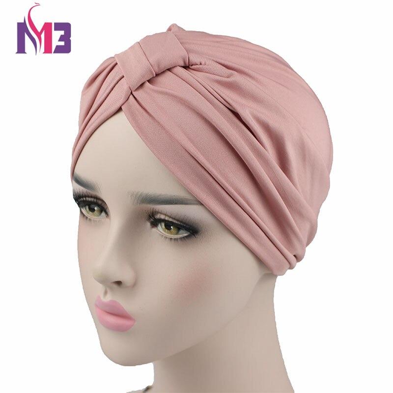 Mujeres Stretchy Modal algodón turbante de quimio Twist Hijab cabeza bufandas señoras capó Cap