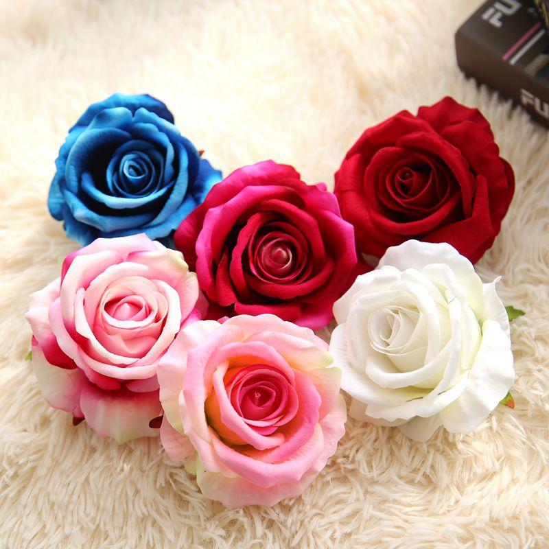 6pcs 7Colors Silk Rose Flower Head Artificial Flowers DIY Wedding Decoration Home Party Fake Flower bouquet недорого