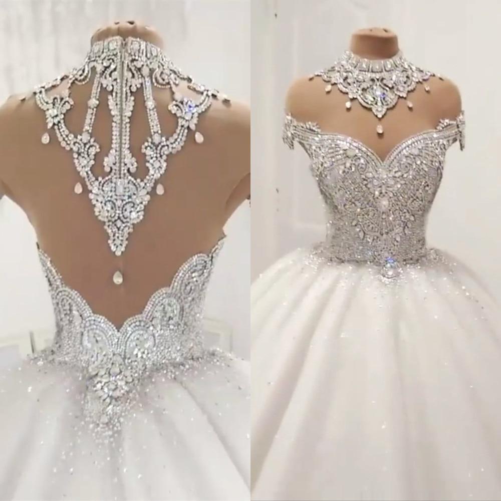 Princess Fluffy Luxury Wedding Dress 2021 Wedding Gowns for Bride Plus Size Tulle Diamond Crystal Beaded Custom Made XJ06S