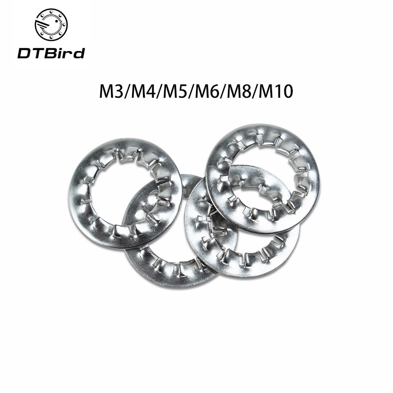Arandelas de acero inoxidable 100 Uds M3/M4/M5/M6/M8/M10 304 arandela de bloqueo serrada