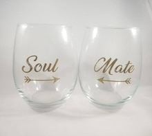 9 Uds Soul & 9 Uds Mate/set flecha oro color vino cristal pegatina familia parejas decoración del banquete de boda Stemless Glass decal EB013
