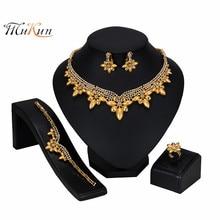 MUKUN nouvelle mode perles africaines ensemble de Bijoux marque Dubai or ensemble de Bijoux colorés nigérian ensemble de Bijoux pour les femmes Bijoux de mariée