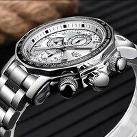 ליגע שעון גברים למעלה מותג יוקרה ספורט עמיד למים נירוסטה אנלוגי קוורץ גברים שעונים עסקי שעון Erkek Kol Saati