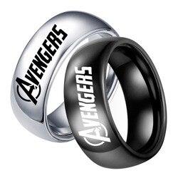 Мужское кольцо в стиле «хип-хоп», черное Винтажное кольцо с логотипом «Союз Мстителей» в стиле «панк», «Супермен», модные украшения на Рождество