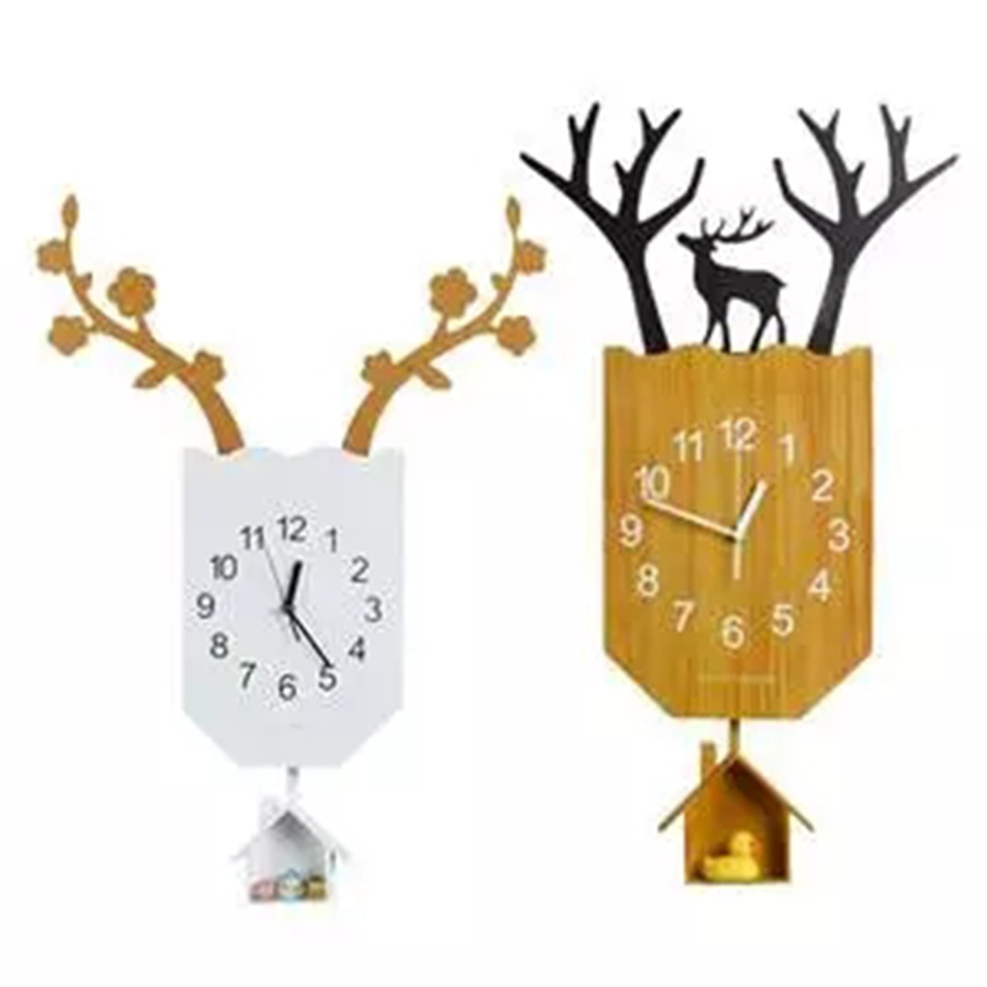 Retro Wall Watch Wood Silent Large Wall Clock Modern Design 3d Clock Antique Wooden Secret Compartment Watches Home Decor 40B004