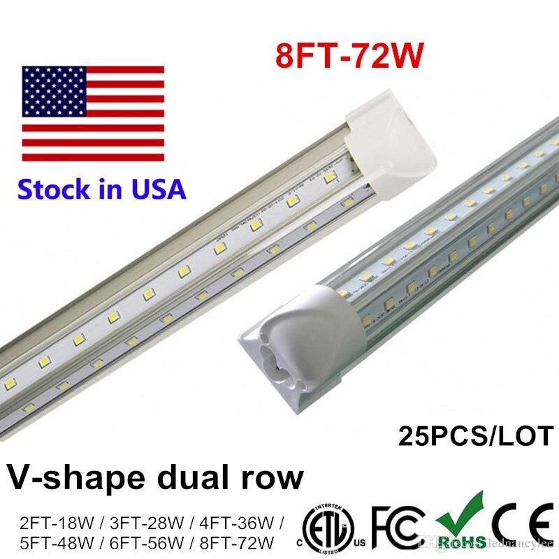 Tubo de luz LED 2400mm 2,4 m 240cm 8ft 4ft 5ft 6ft T8 integrar en forma de V T8 lámpara de tubos LED de 8 pies de 72W enfriador puerta iluminación SMD2835