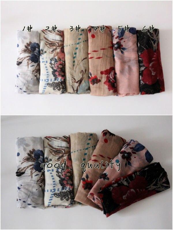 Nueva moda flores impreso hijab bufandas de invierno chales y bufandas elegante pashmina de buena calidad suave acogedor 6 colores
