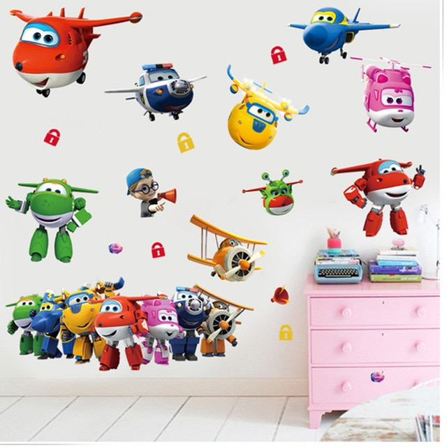 3D cartoon Super Wings Jett airplane PVC Decals Adhesive Wall Stickers Mural Home Decor kids boy bedroom nursery birthday gift